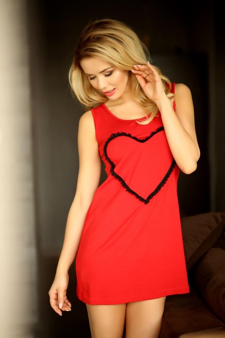 Koszulka nocna Halka Model Seville (wiskoza) Red - Kalimo