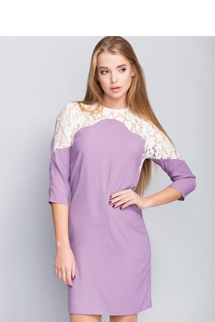 Sukienka Elegancka sukienka zdobiona delikatną koronką MM1093 Liliowy - Mira Mod