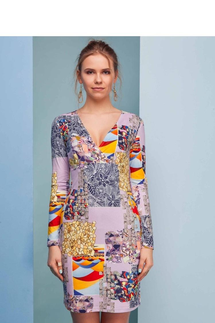 Sukienka o ciekawym wzorze GR1362 Liliowy - GrandUA