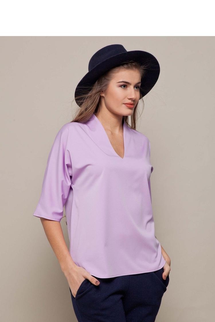 Elegancka bluzka z głębokim dekoltem GR1351 Liliowy - GrandUA