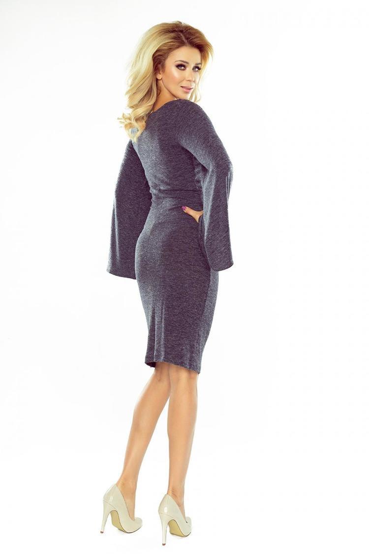 Sukienka Model 185-1 Grafit Melange - Numoco