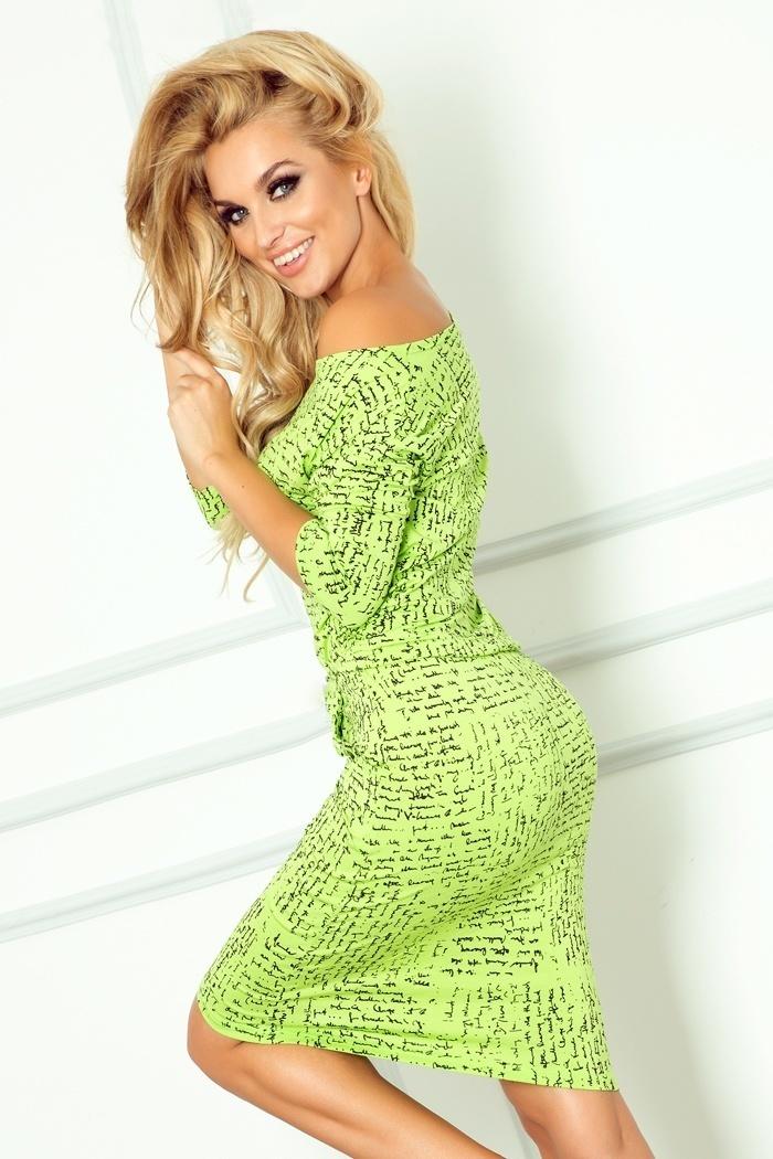 Sukienka Model 13-35 Green Napisy - Numoco