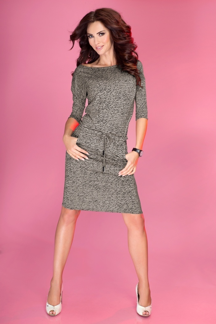 Sukienka Model 13-13 Szary/Napisy  - Numoco