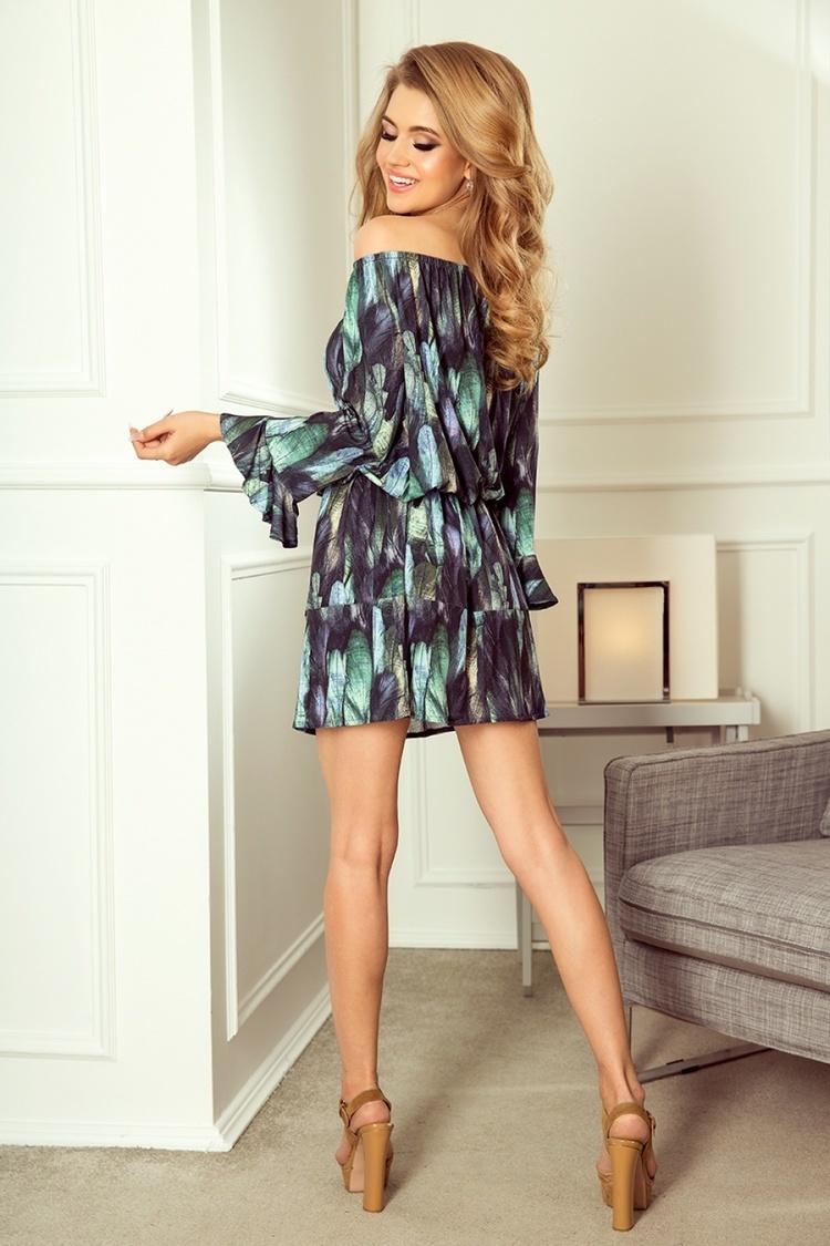Sukienka Model 198-1 Julie Zielone Pióra - Numoco