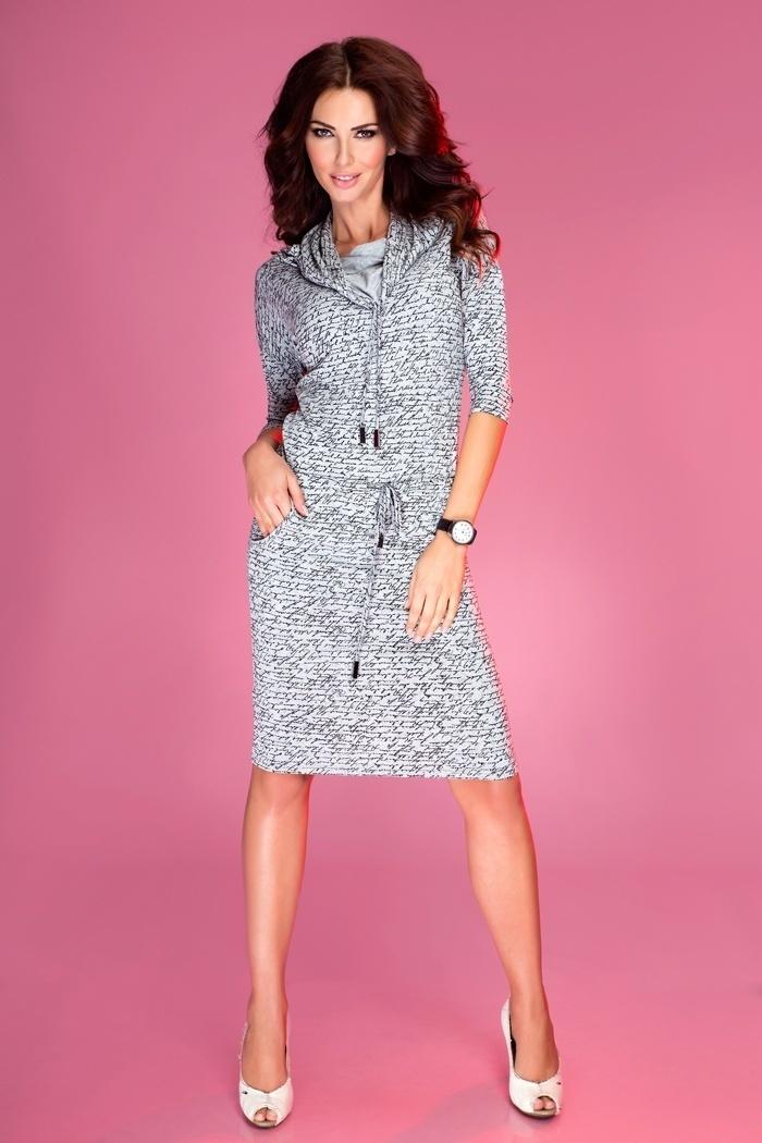 Sukienka Model 44-4 Light Grey/Napisy  - Numoco