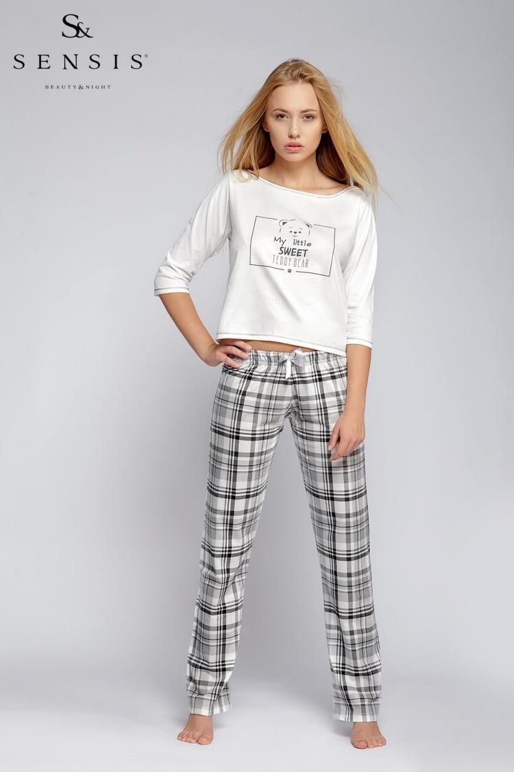 Piżama Damska Model Teddy Bear Ecru - Sensis