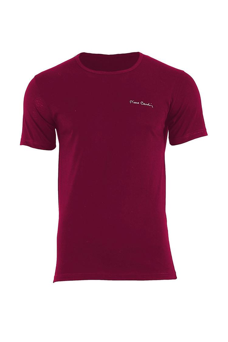 T-shirt Męski Model Arturo Rneck Bordo - Pierre Cardin