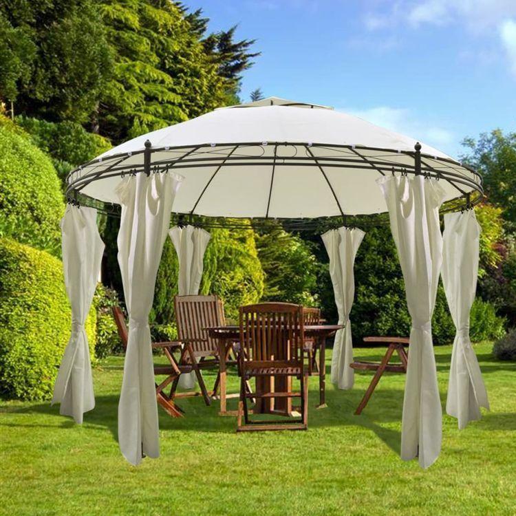 Okrągłe zadaszenie ogrodowe z zasłonami 3,5 x 2,7 m