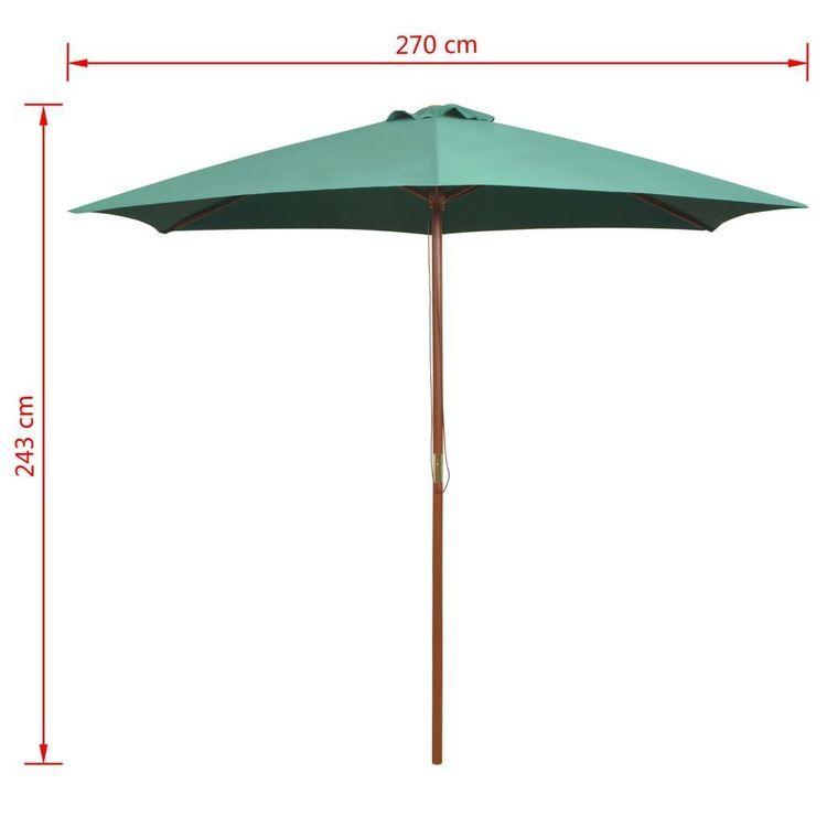 Parasol ogrodowy, 270x270 cm, drewno, zielony