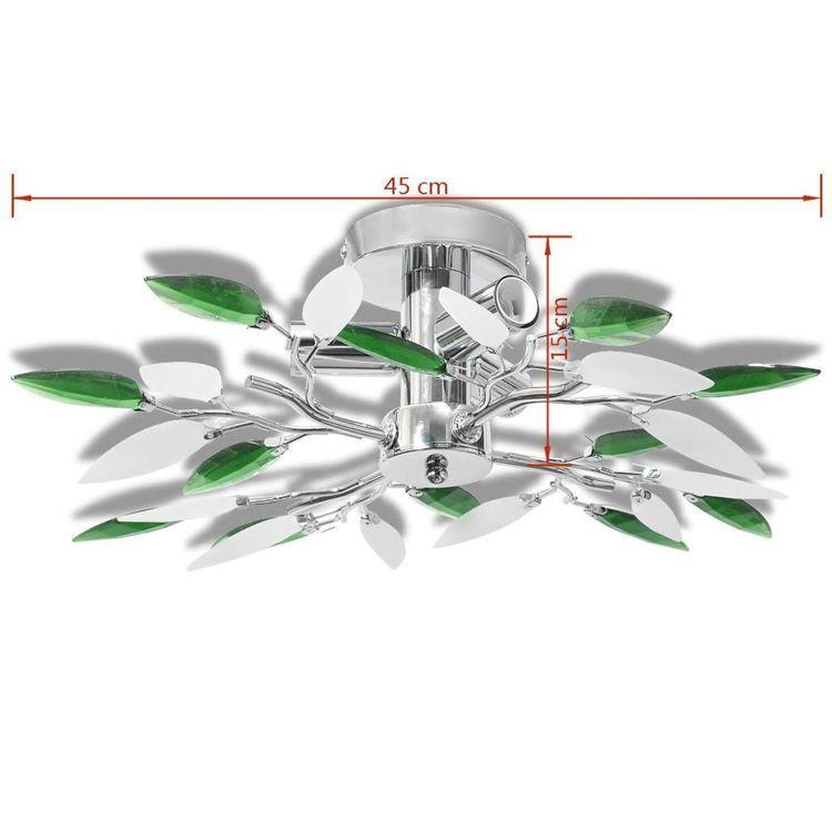 Lampa sufitowa, plafon, białe i zielone listki 3 żarówki E14