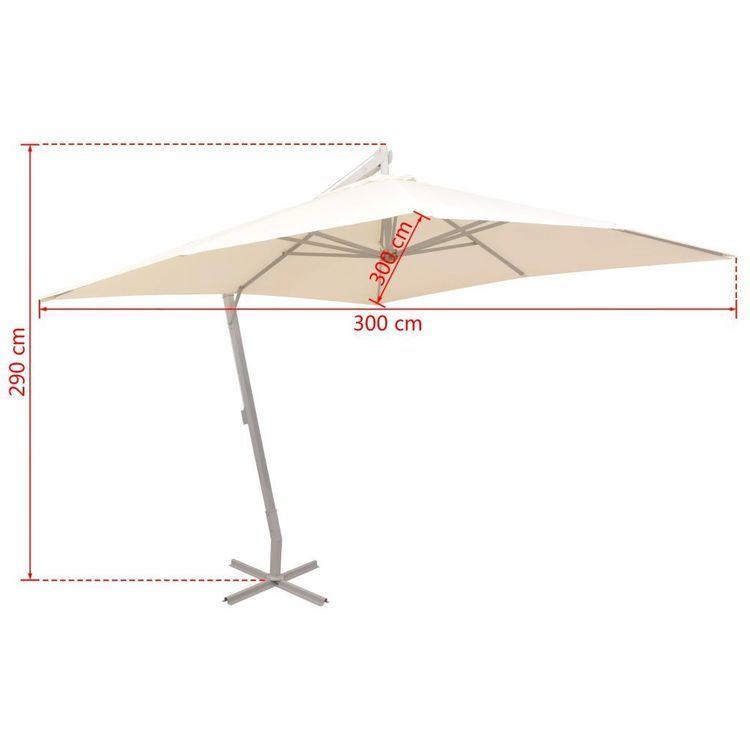 Parasol ogrodowy, wiszący, 300 x 300 cm, aluminium, piaskowy