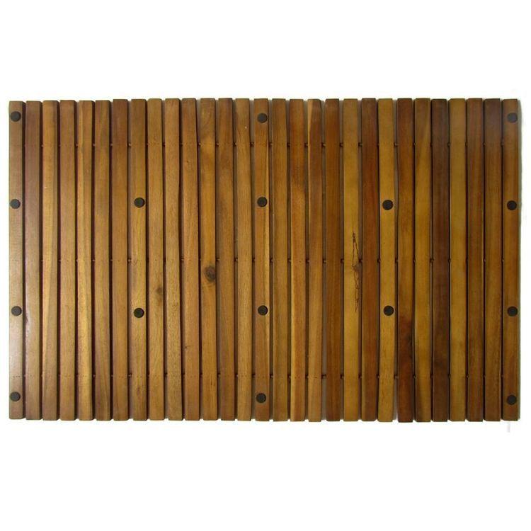 Mata prysznicowa z drewna akacjowego, 80 x 50 cm