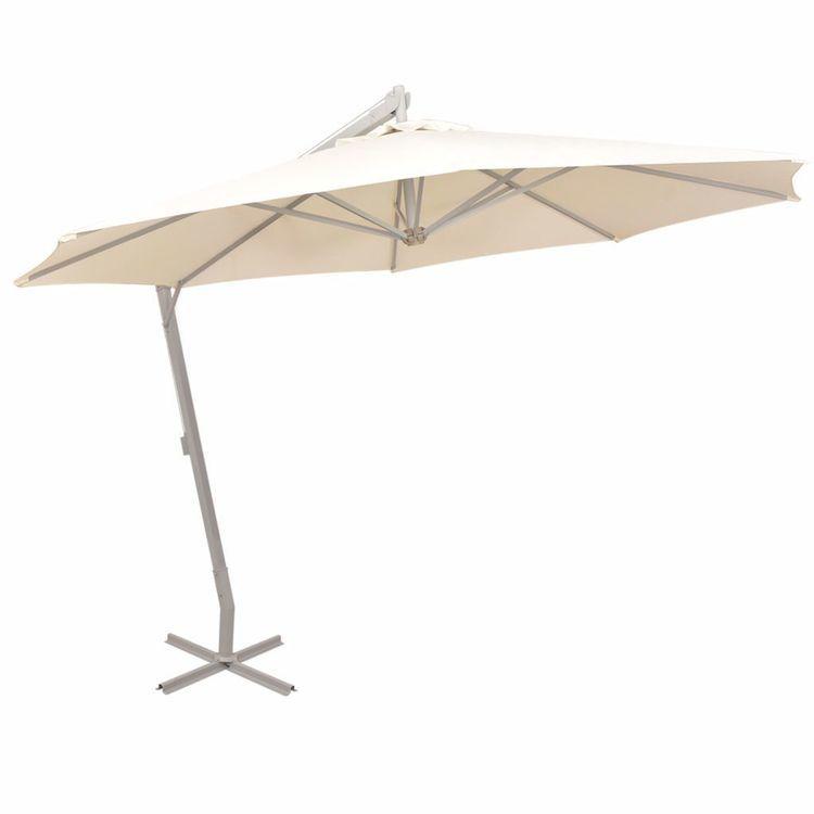 Parasol ogrodowy, wiszący, 350 cm, słupek aluminiowy, piaskowy