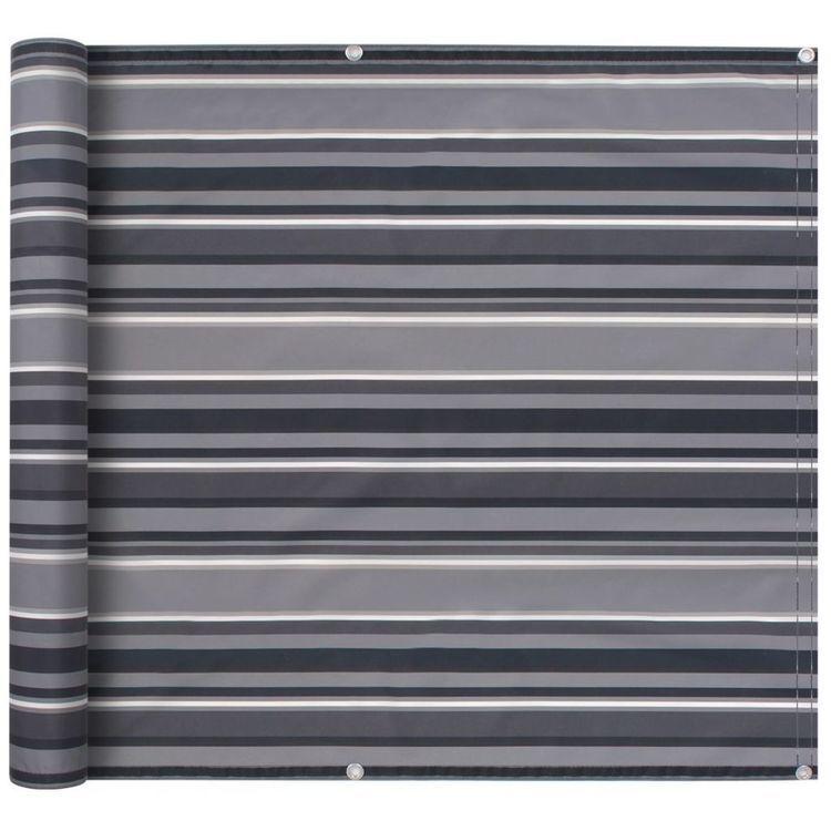 Parawan balkonowy z tkaniny oxford, 75x600 cm, szare paski