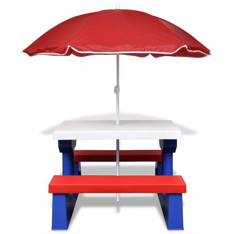 Stół dla dzieci z ławkami i parasolem, wielokolorowy
