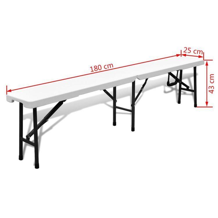 Składane ławki ogrodowe, 2 szt., 180 cm, HDPE, białe