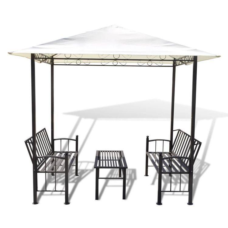 Zadaszenie ogrodowe ze stołem i ławkami; 2,5 x 1,5 x 2,4 m