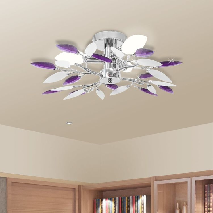 Lampa sufitowa, 3 żarówki E14, fioletowa/biała