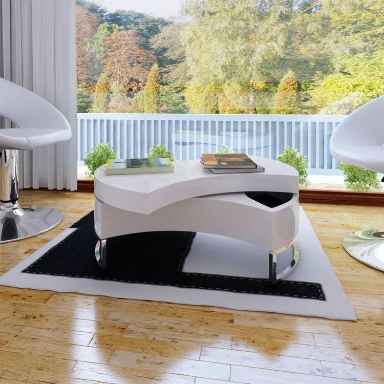 Stolik Do Salonu Rozsuwany Biały Wysoki Połysk