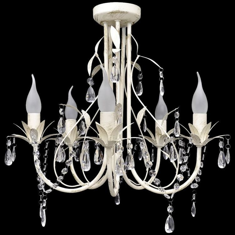 Żyrandol, elegancki, biały fantazyjny kształt, 5 żarówek