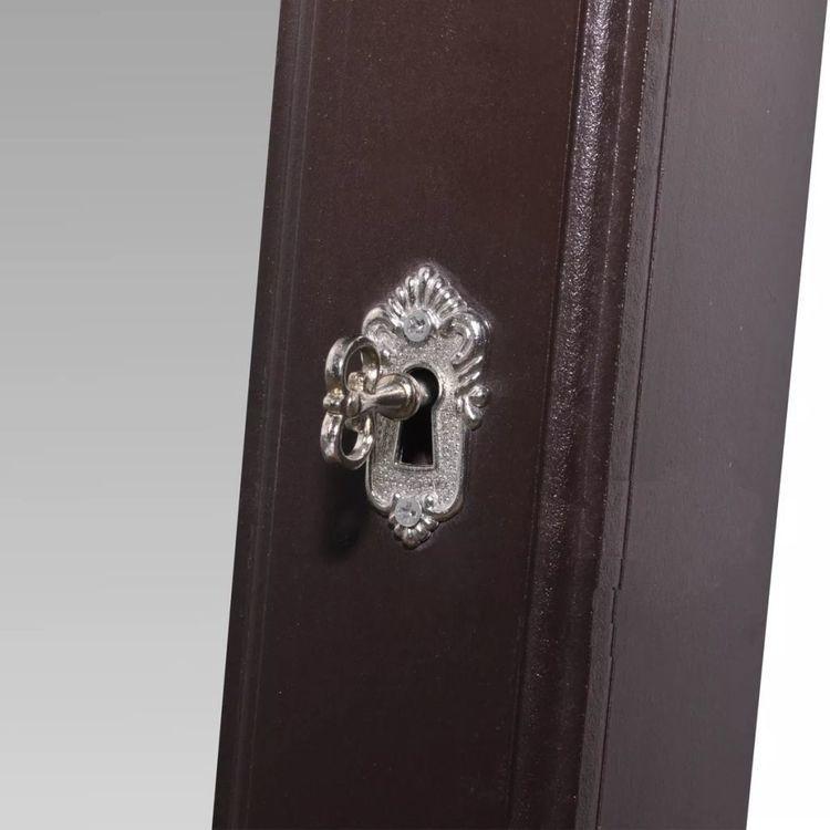Wolnostojąca gablotka na biżuterię z lustrem, brązowa
