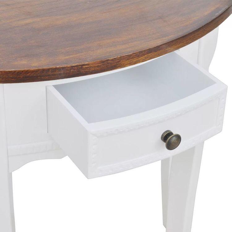 Półokrągły stolik typu konsola z szufladą i brązowym blatem