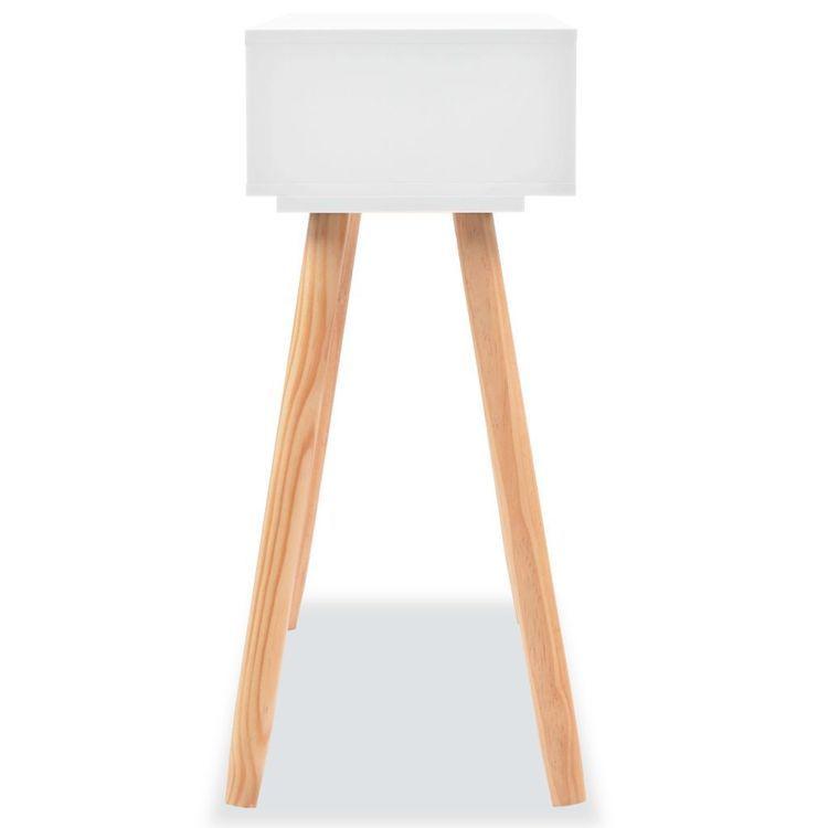 Stolik typu konsola, drewno sosnowe, 80x30x72 cm, biały