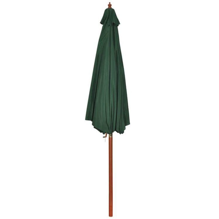 Parasol przeciwsłoneczny w kolorze zielonym o wysokości 258 cm.