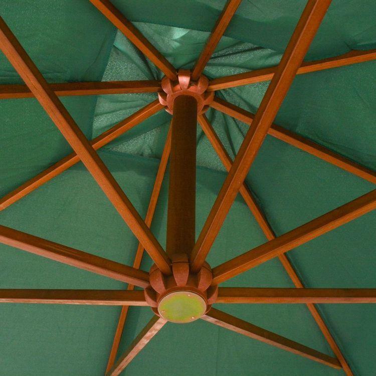 Parasol ogrodowy wiszący, 300 x 300 cm, drewniany, zielony