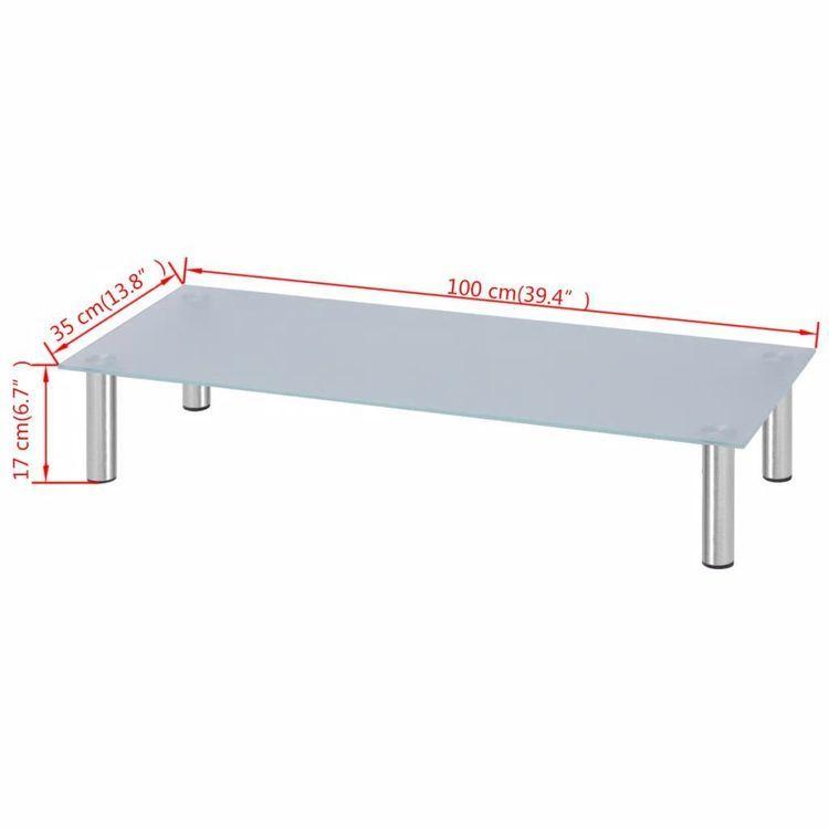 Stolik/Podstawka pod Monitor/RTV 100x35x17 cm ze szkła, biały