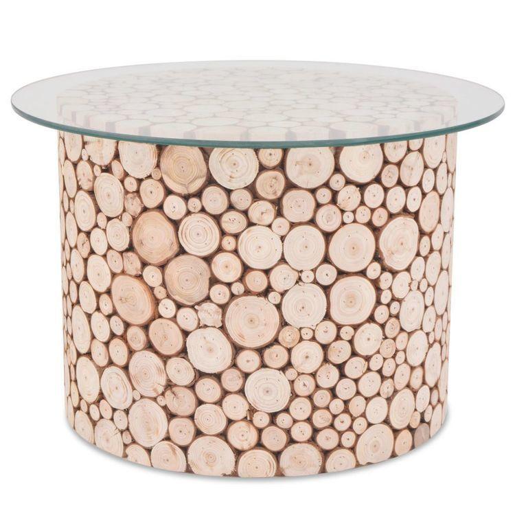 Stolik kawowy z prawdziwego drewna, 60,5 x 40 cm