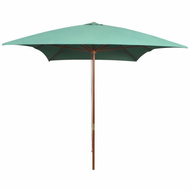 Parasol ogrodowy, 200x300 cm, drewniany stelaż, zielony
