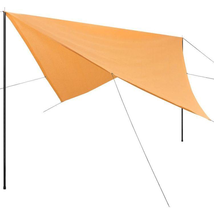 Żagiel przeciwsłoneczny ze słupkami, HDPE, 4 x 4 m, beżowy