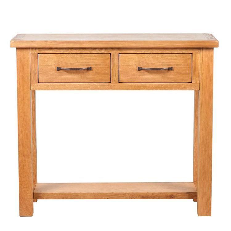 Konsola z 2 szufladami, 83x30x73 cm, lite drewno dębowe