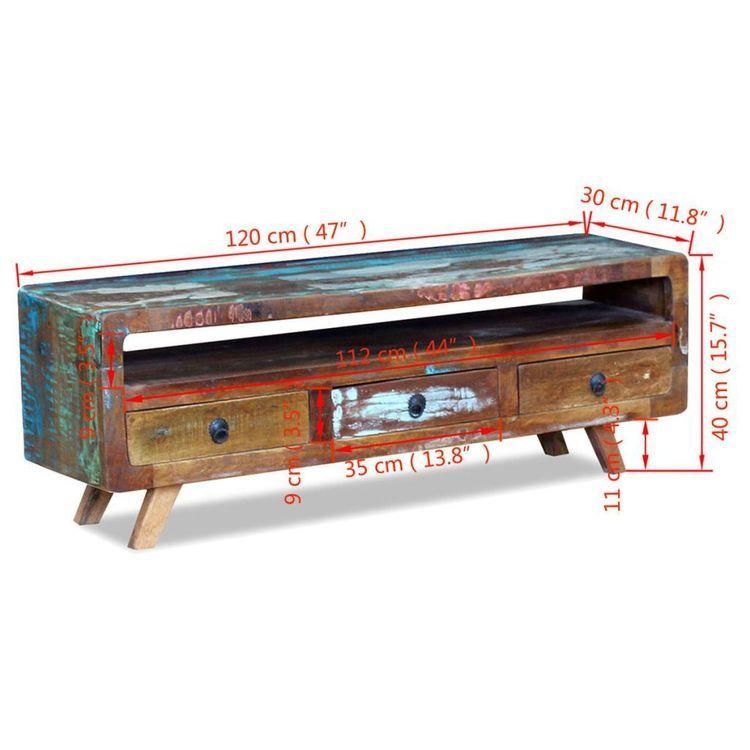 Szafka pod TV z drewna z odzysku z 3 szufladami