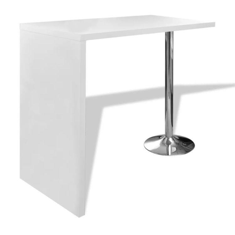 Biały stolik barowy z 1 stalową nogą, MDF, wysoki połysk