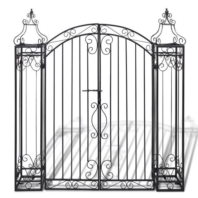 Ozdobna brama ogrodowa z kutego żelaza, 122 x 20,5 x 134 cm