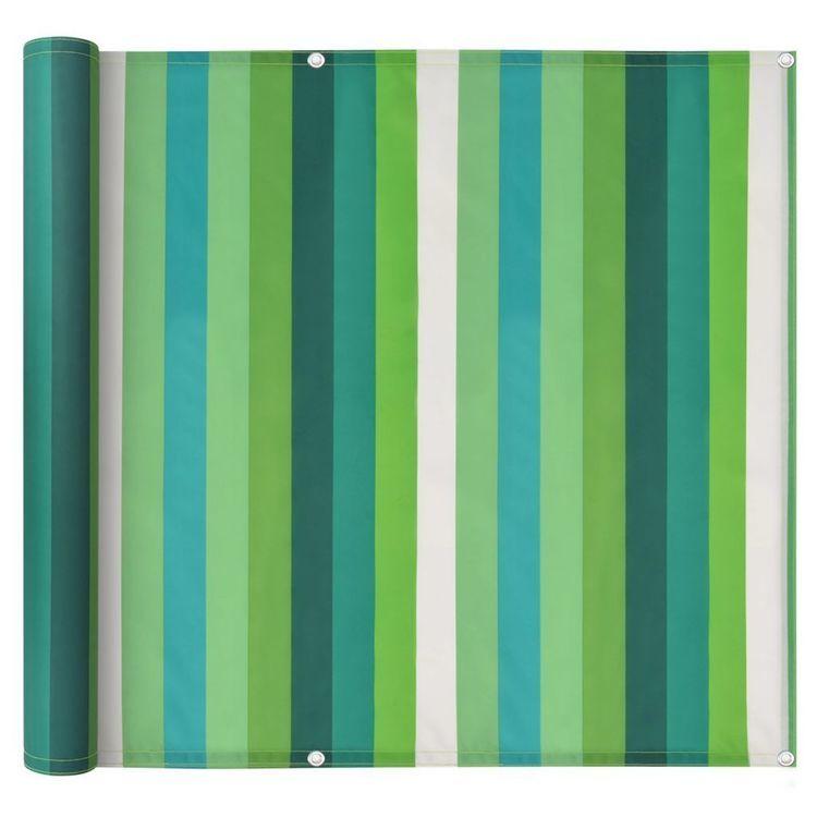 Parawan balkonowy z tkaniny oxford, 90x400 cm, zielone paski