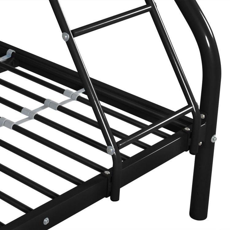 Łóżko piętrowe dla dzieci, czarne, metalowe, 140x200/90x200 cm