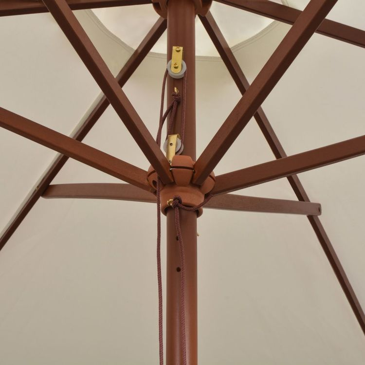 Parasol ogrodowy, 270x270 cm, drewniany, kremowy