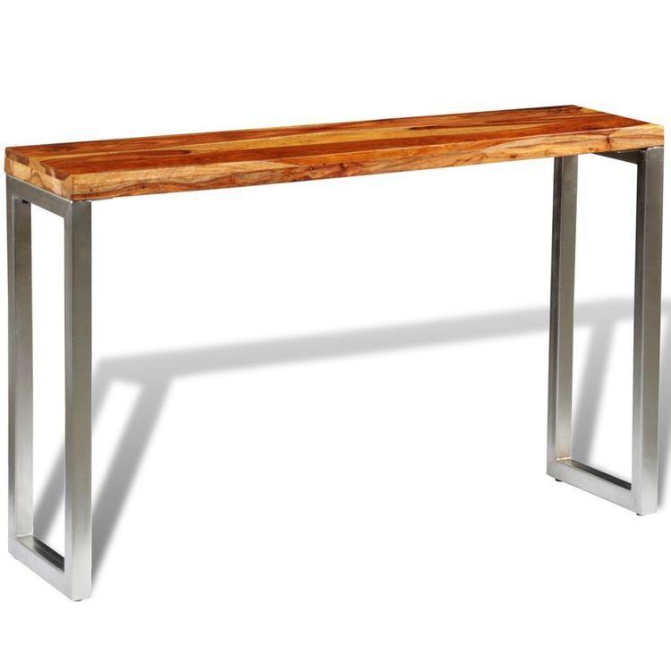 Stolik konsola z drewna sheesham z metalowymi nogami