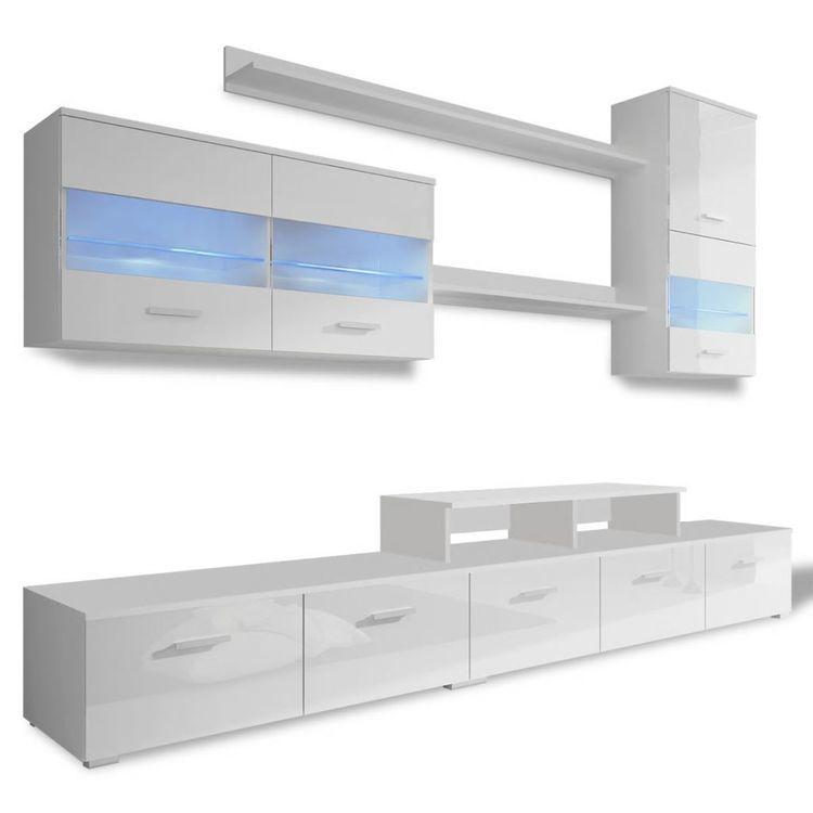 Zestaw mebli TV z podświetleniem LED 250 cm biały na wysoki połysk