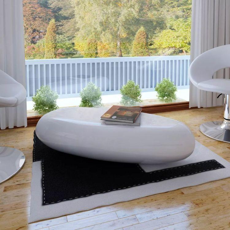 Stolik kawowy z włókna szklanego, biały, wysoki połysk