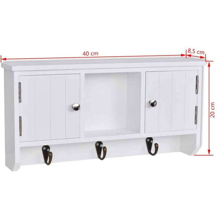 Wisząca szafka na klucze i akcesoria z drzwiczkami i wieszakami