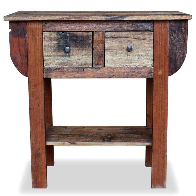 Stolik konsola, lite drewno z odzysku, 80 x 35 x 80 cm