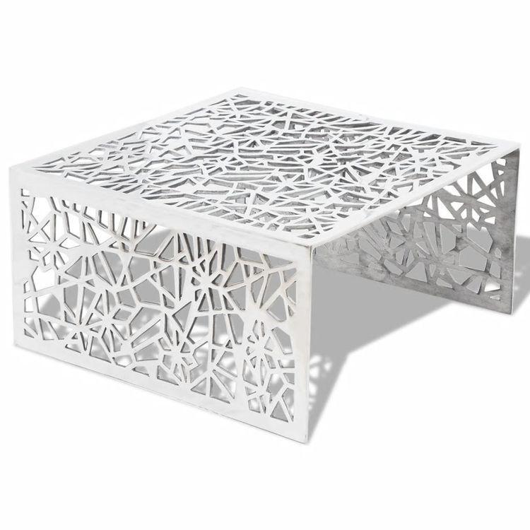Ażurowy stolik kawowy z aluminium, kolor srebrny