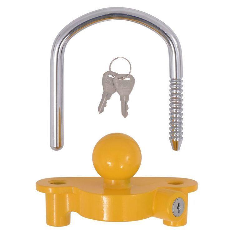 Blokada zaczepu kulowego z 2 kluczami, stal i aluminium, żółta