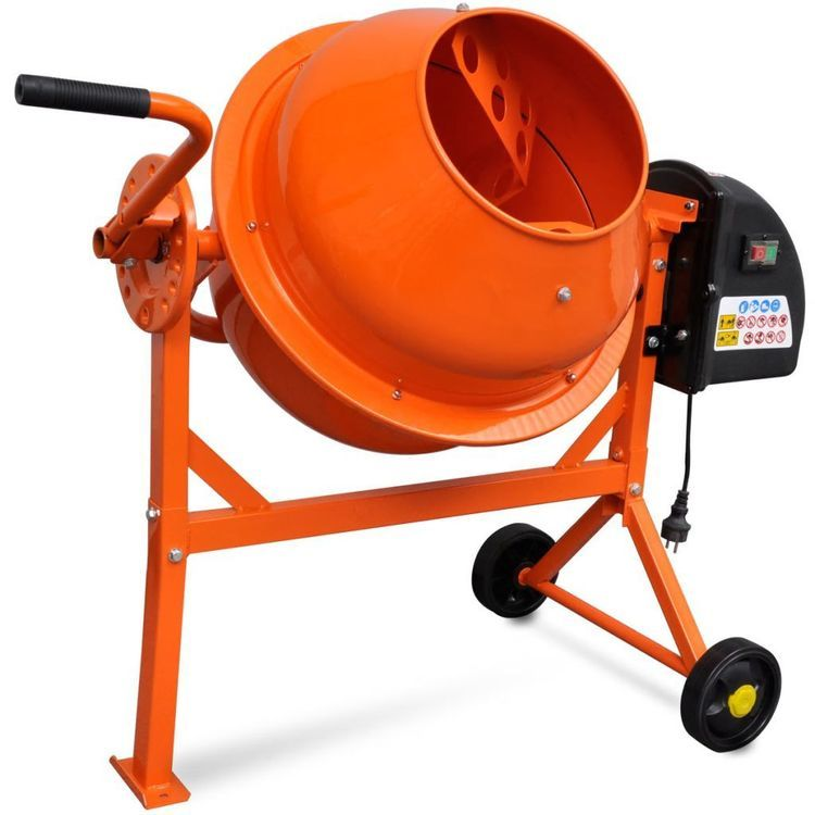 Elektryczna betoniarka 63 L 220 W z pomarańczowej stali