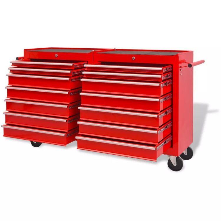 Wózek narzędziowy z 14 szufladami, stalowy, czerwony