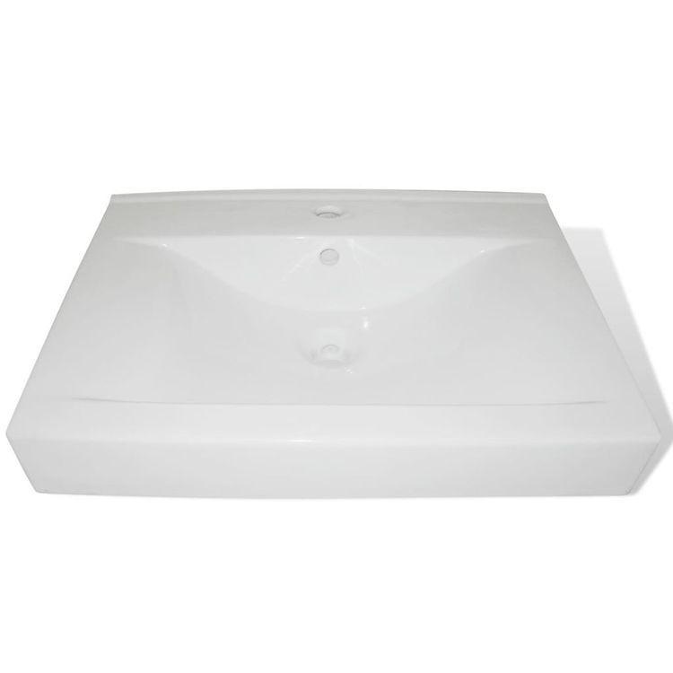 Luksusowa umywalka prostokątna z otworem na kran, biała